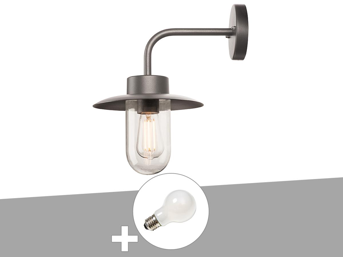 Applique extérieure anthracite MOLAT avec ampoule LED A60