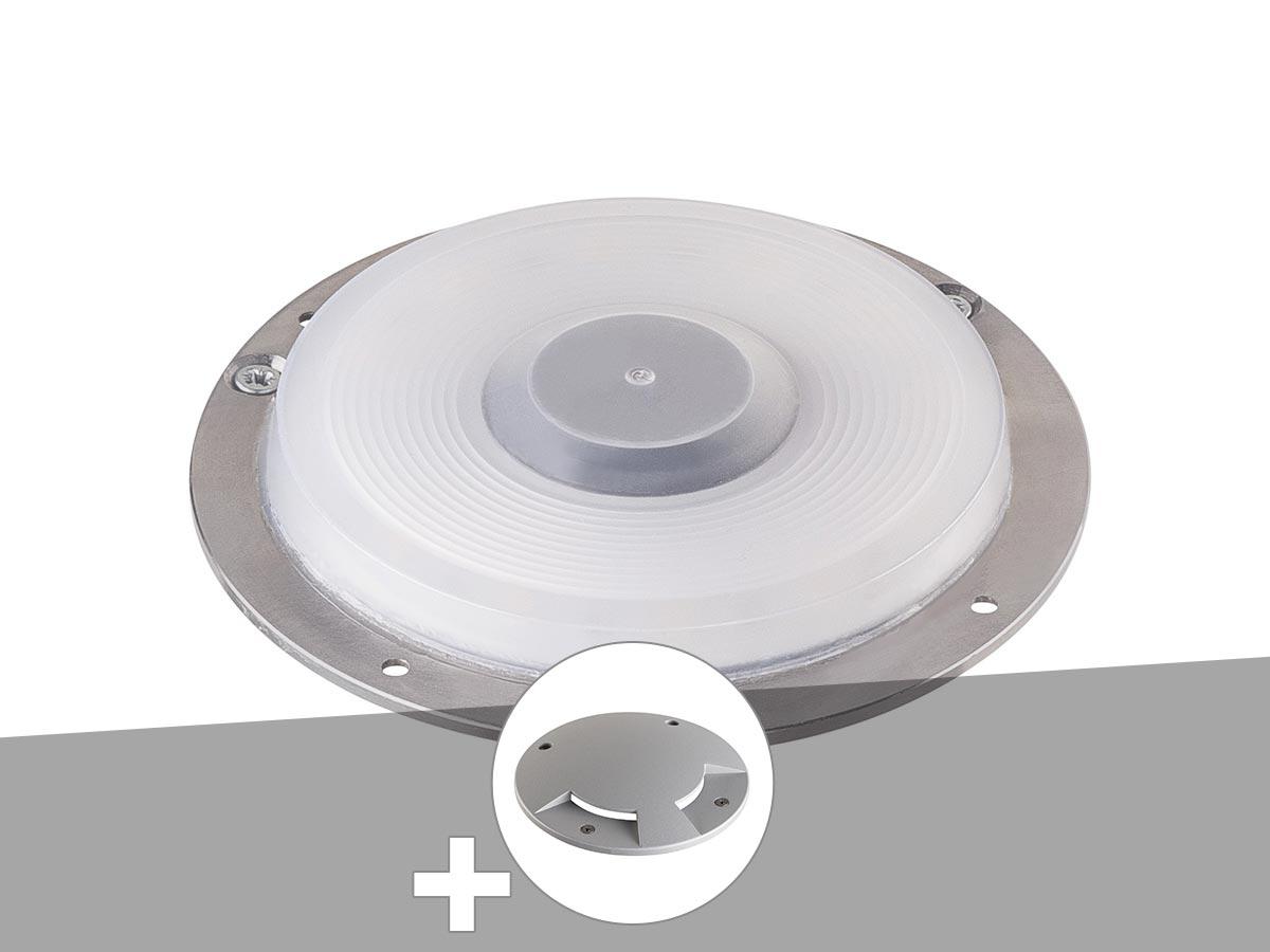 Encastré de sol extérieur gris argent BIG PLOT, module LED + encastré de sol 2 fenêtres gris argent