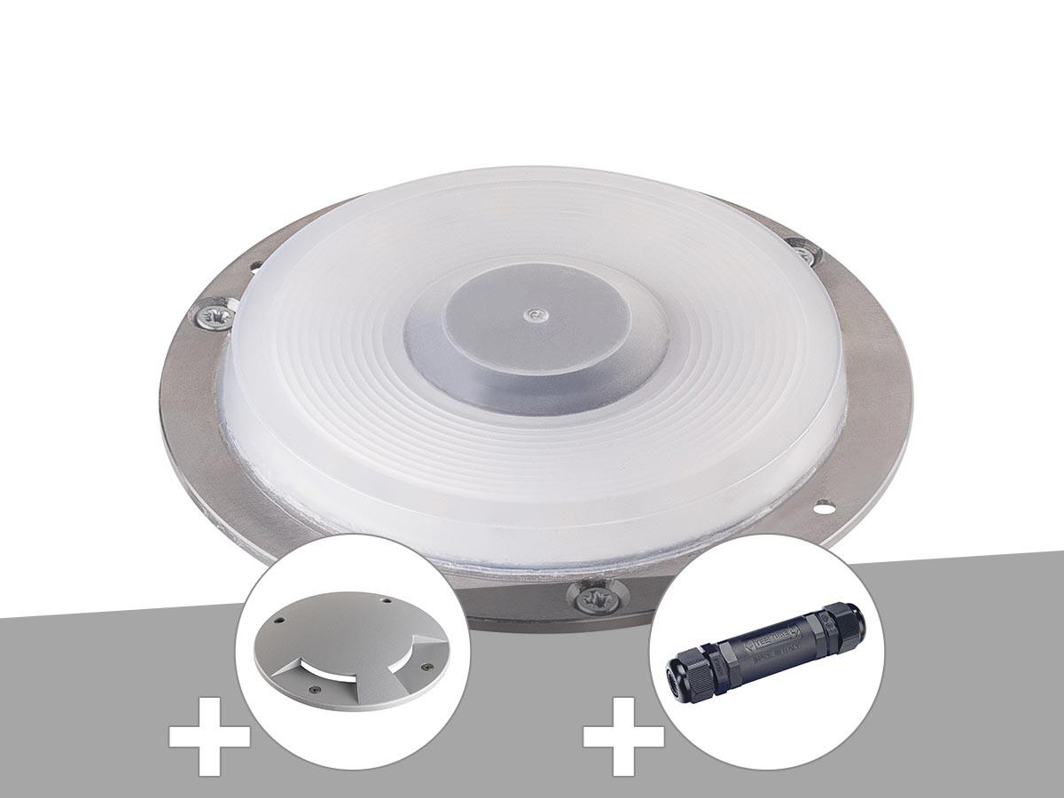 Encastré de sol extérieur gris argent BIG PLOT, module LED + encastré de sol 2 fenêtres gris argent + boîte de connexion