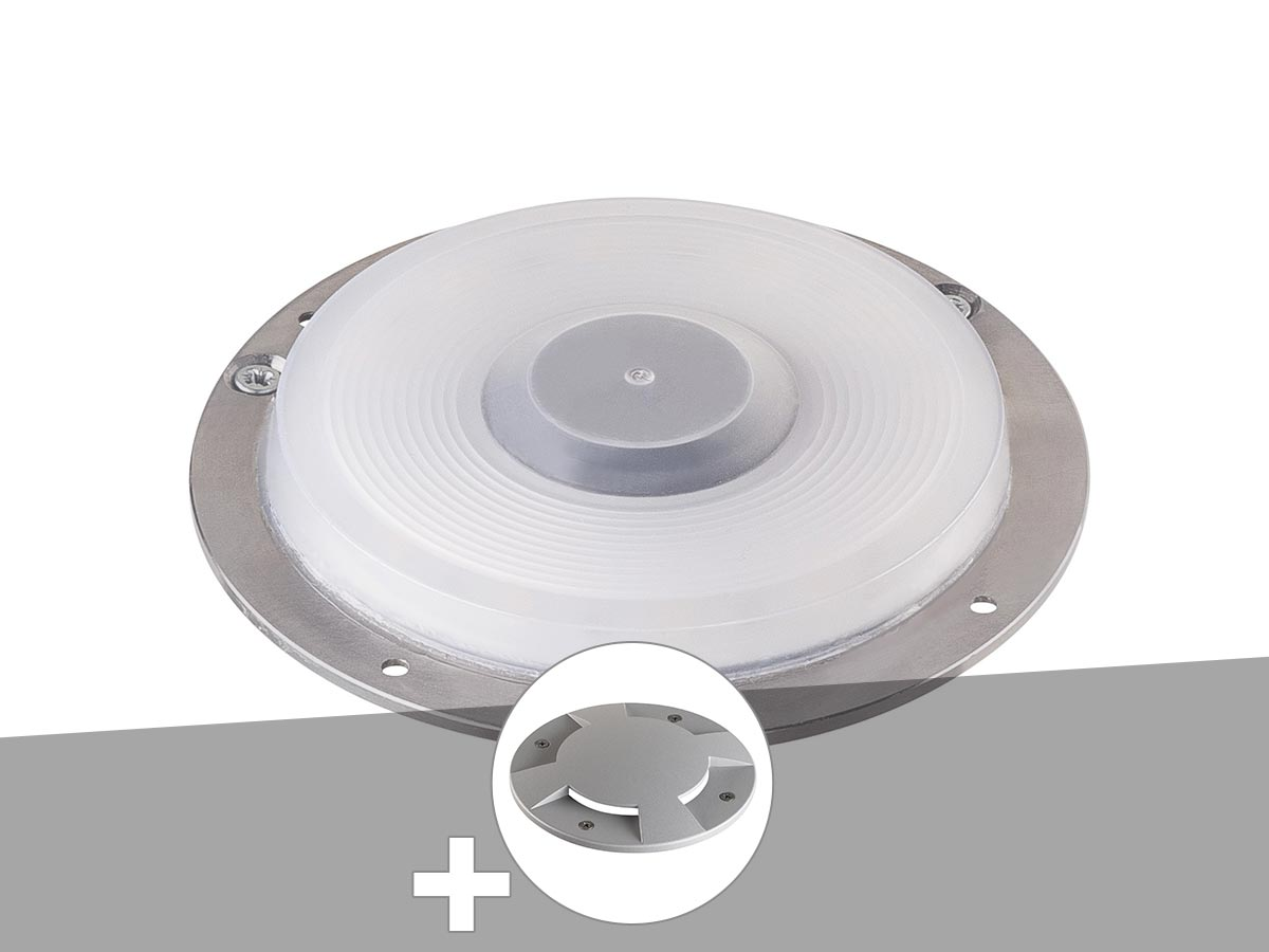 Encastré de sol extérieur gris argent BIG PLOT, module LED + encastré de sol 4 fenêtres gris argent