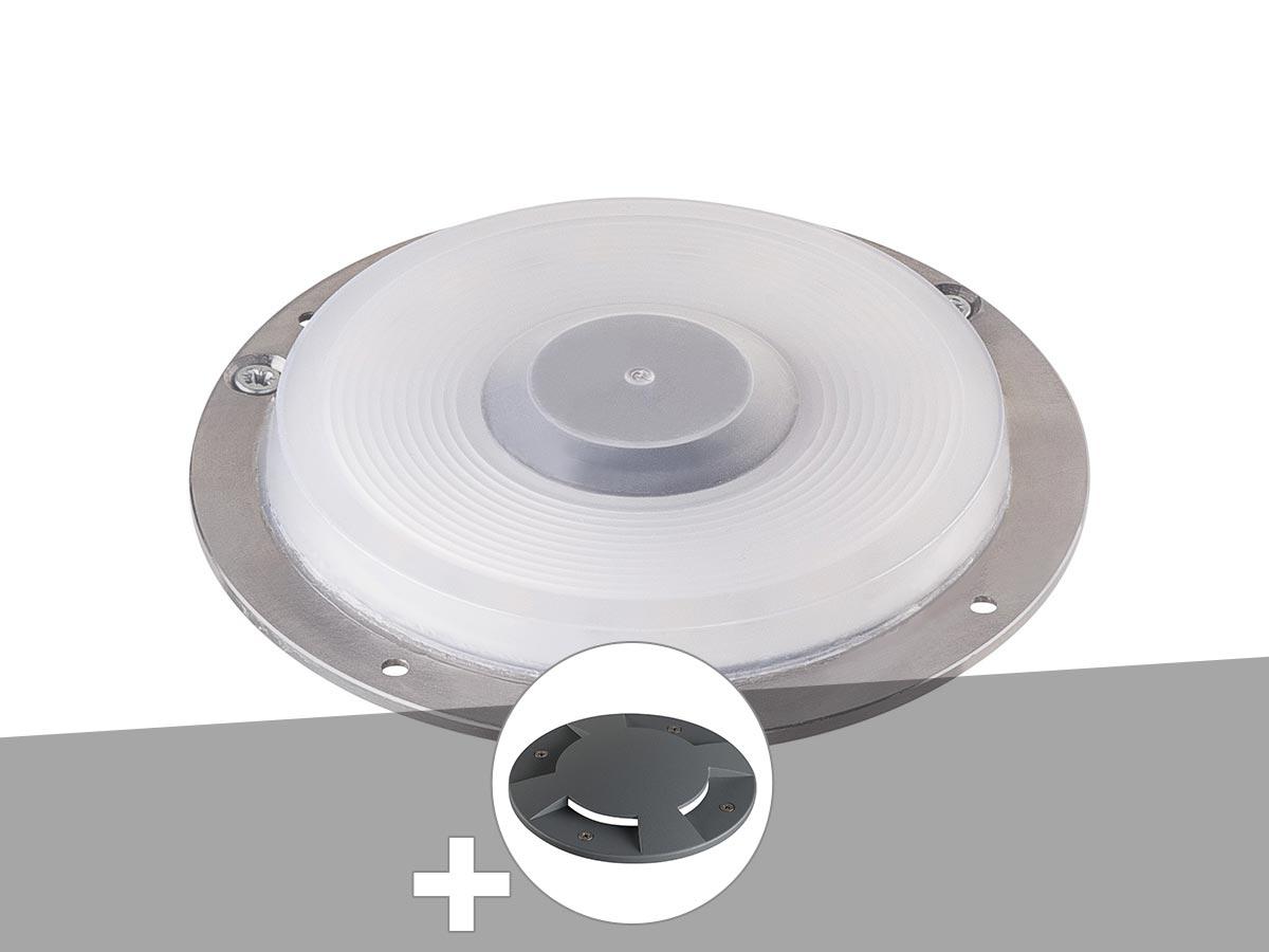 Encastré de sol extérieur gris argent BIG PLOT, module LED + encastré de sol 4 fenêtres anthracite