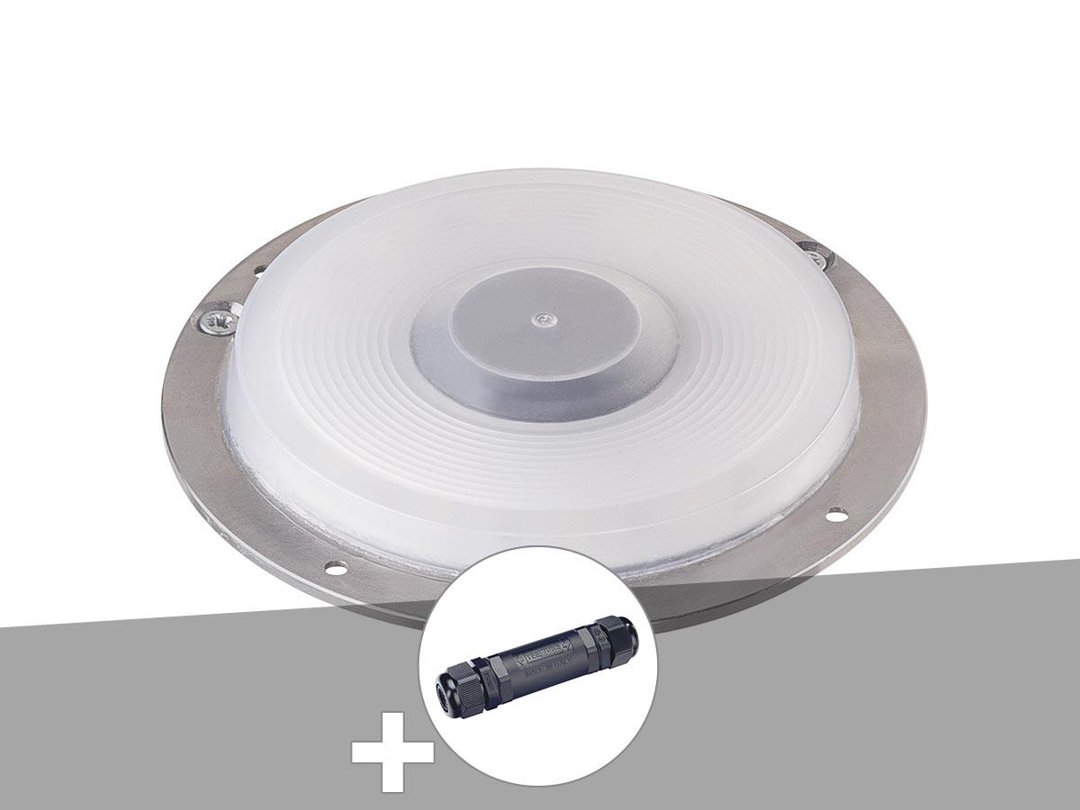 Encastré de sol extérieur gris argent BIG PLOT, module LED + boîte de connexion