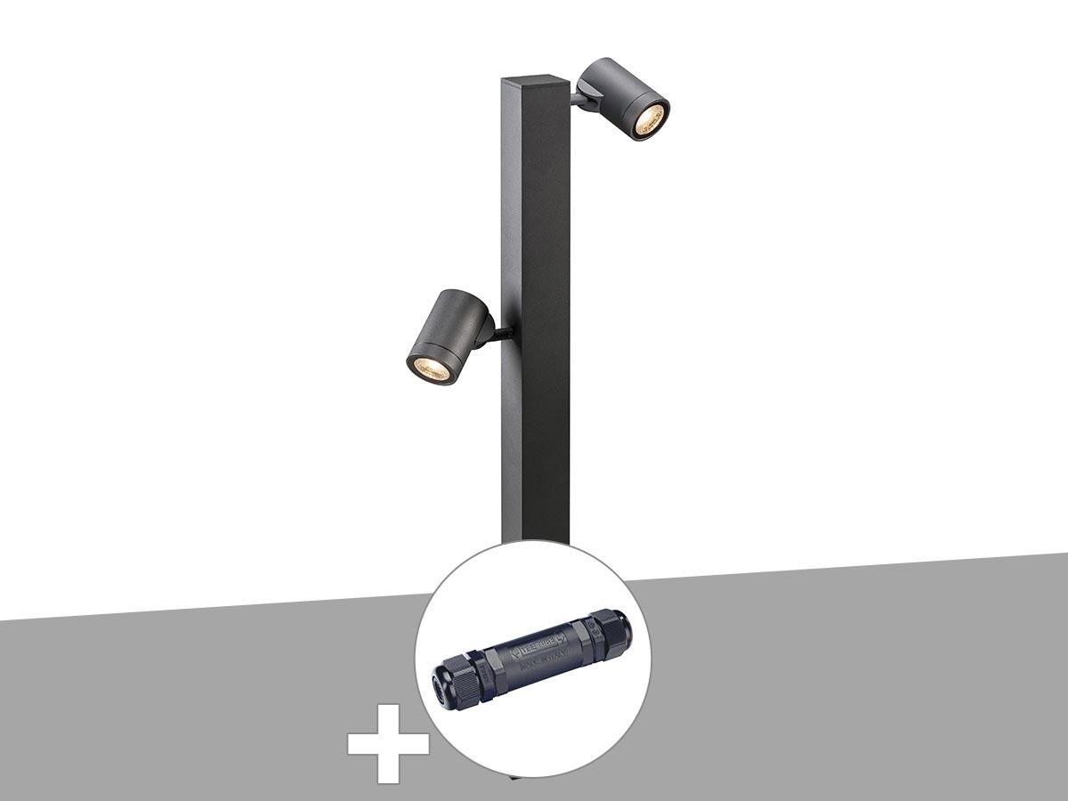 Borne extérieure double anthracite HELIA avec LED variable avec boite de connexion