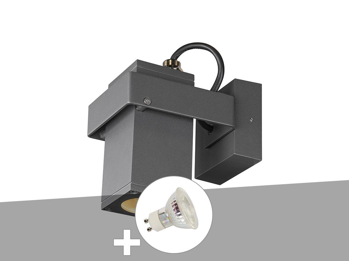 Applique et plafonnier extérieur anthracite THEO BRACKET avec ampoule LED QPAR51