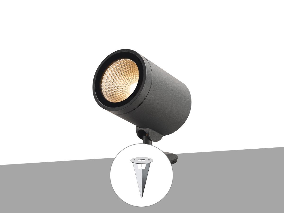 Projecteur extérieur simple anthracite HELIA SPOT L avec ampoule LED et piquet d'ancrage