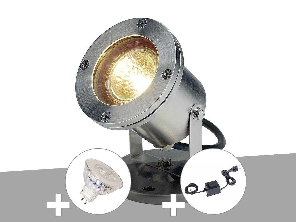 Projecteur extérieur inox NAUTILUS avec ampoule et transformateur