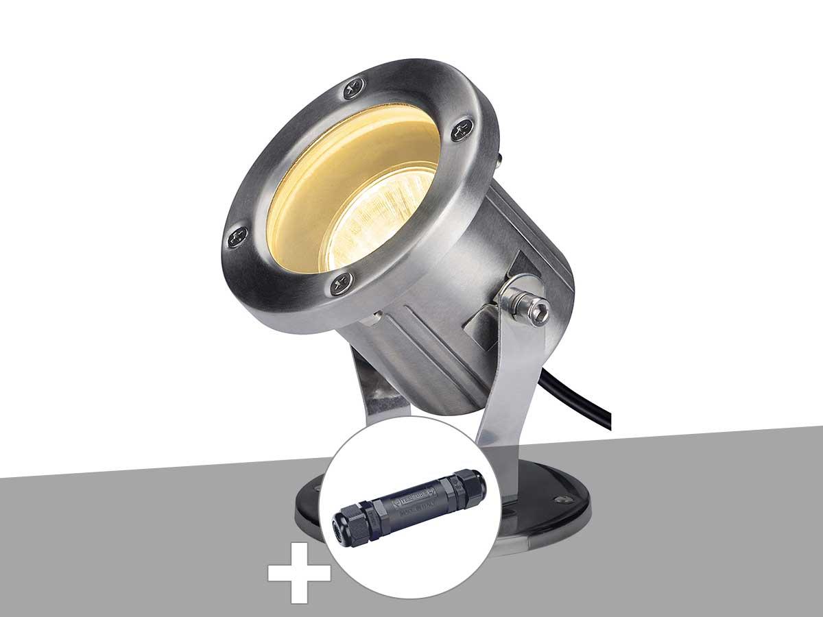 Projecteur extérieur inox NAUTILUS 10 SPOT avec boîte de connexion