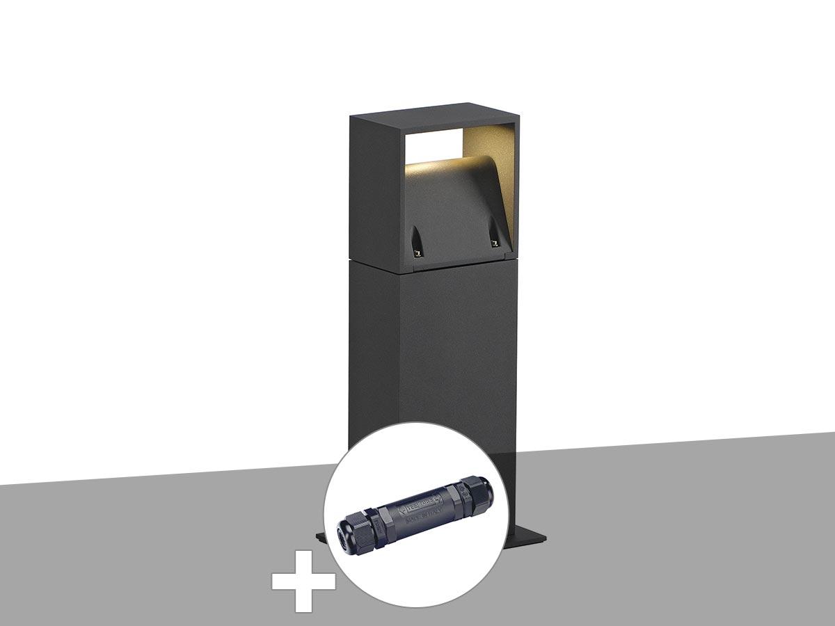 Borne extérieure, anthracite LOGS 40 avec LED avec boîte de connexion