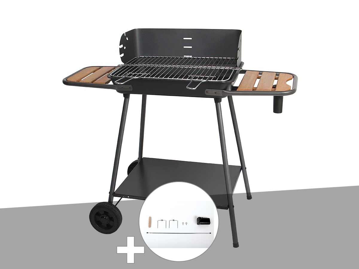 Barbecue charbon Promenade Somagic + Kit tournebroche