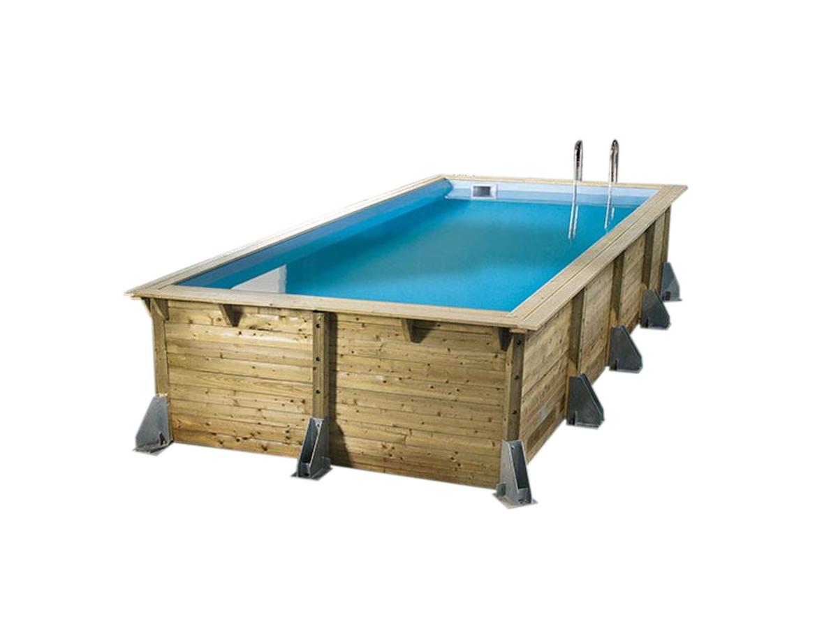 Piscine bois Azura 5,05 x 3,50 x 1,26 m - Liner bleu