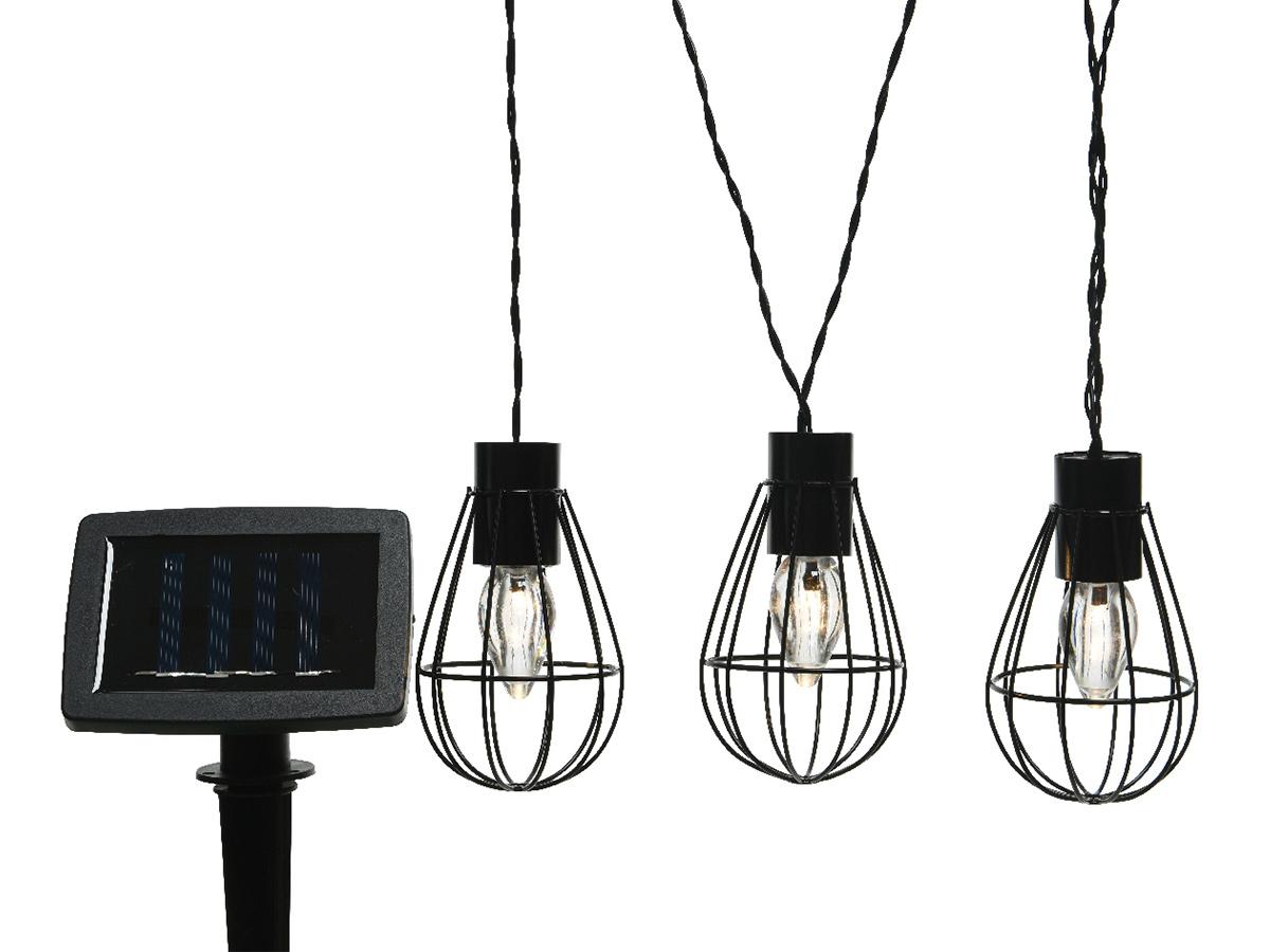 Guirlande d'extérieur LED solaire style industriel - Jardideco