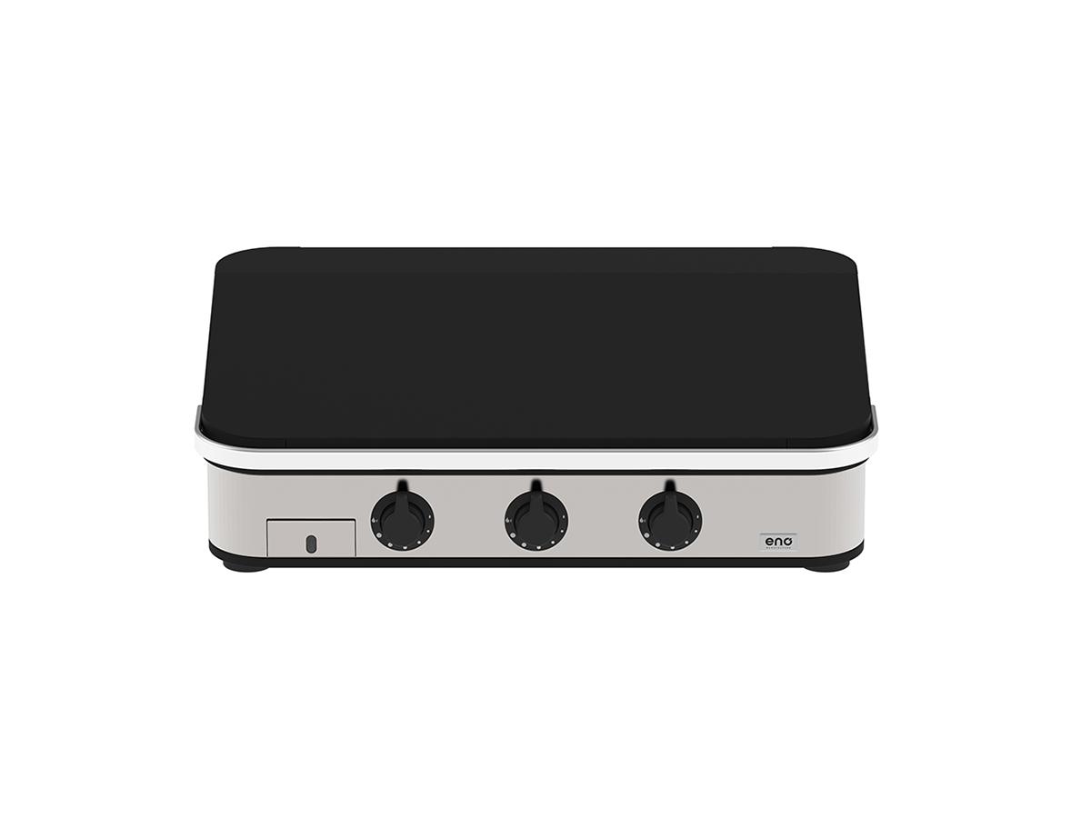 Plancha à gaz ENOSIGN 80 Inox et Noir avec capot - Eno