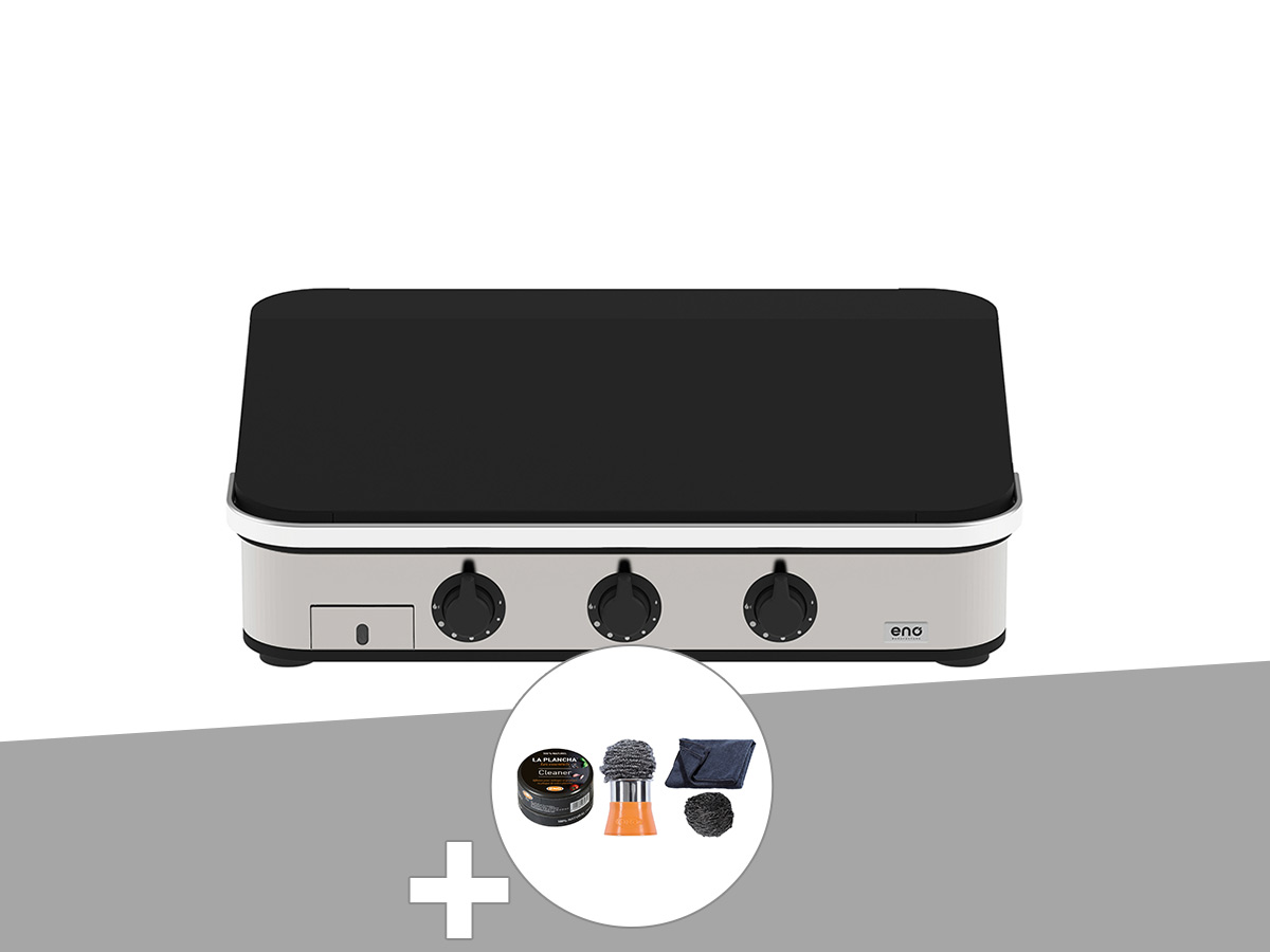 Plancha à gaz ENOSIGN 80 Inox et Noir avec capot - Eno + Coffret Nettoyage