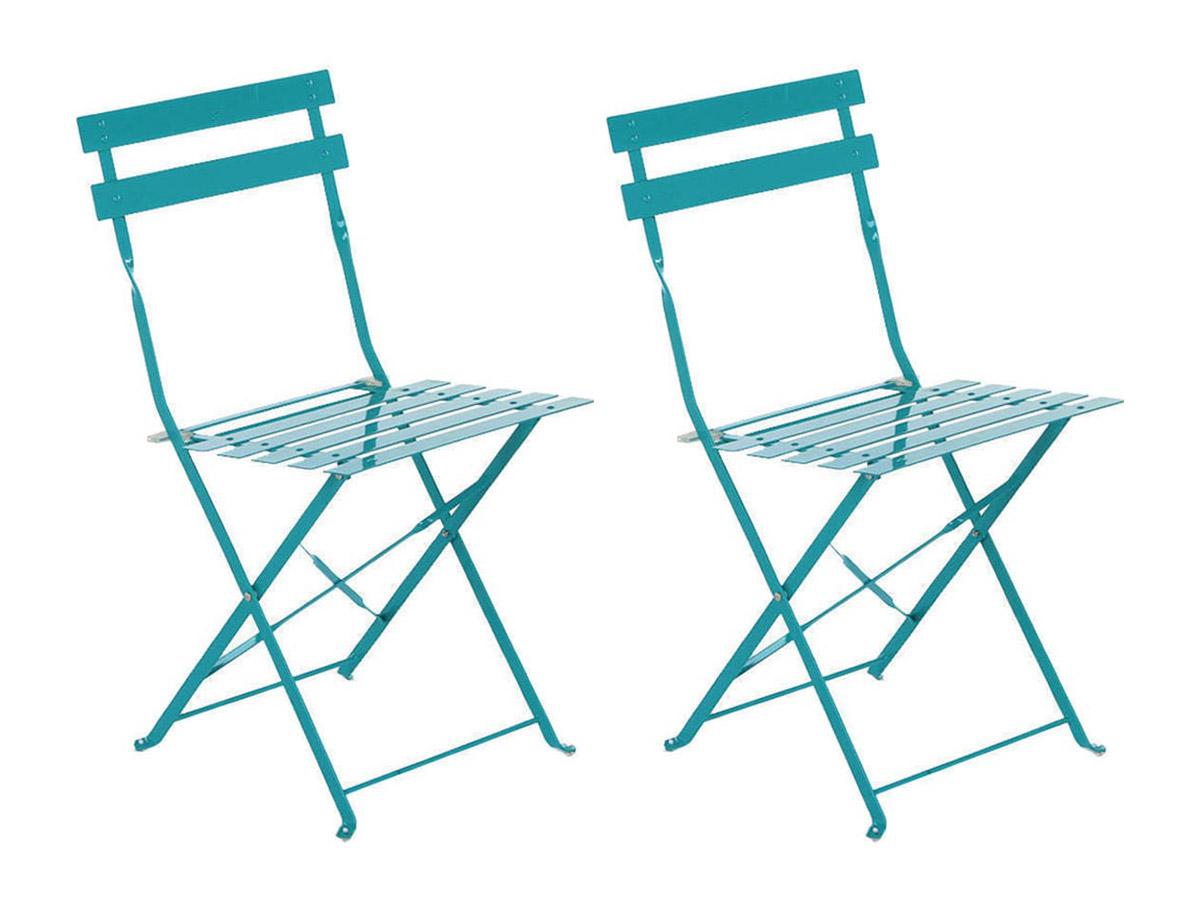 Lot de 2 Chaises de jardin métal pliante Camargue Lagon - Hesperide