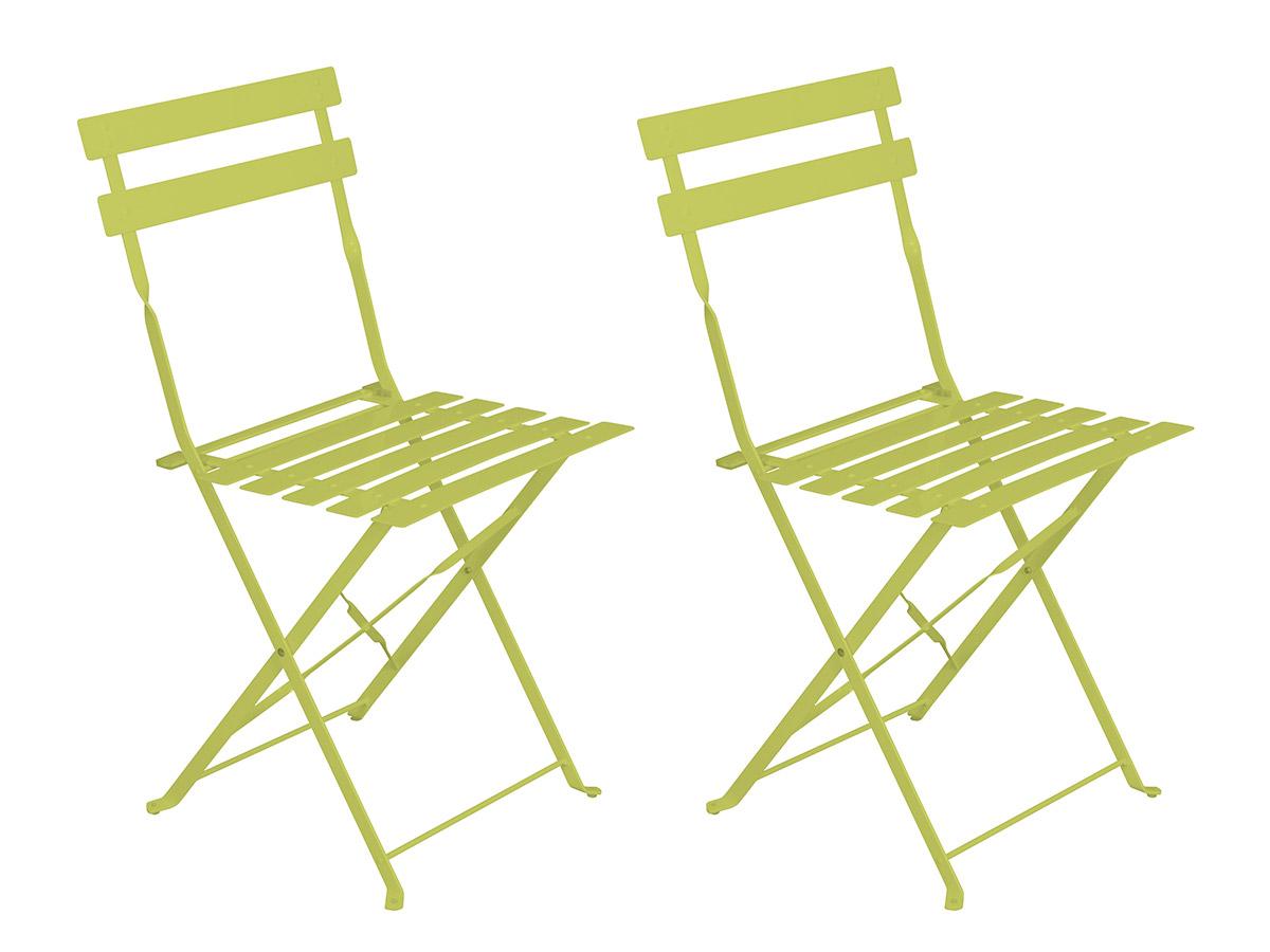 Lot de 2 Chaises de jardin métal pliante Camargue Verte - Hesperide
