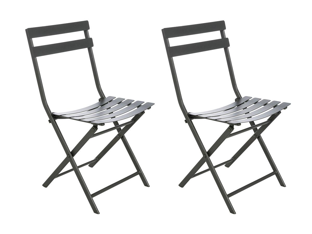 Lot de 2 Chaises de jardin métal pliante Greensboro Graphite - Hesperide
