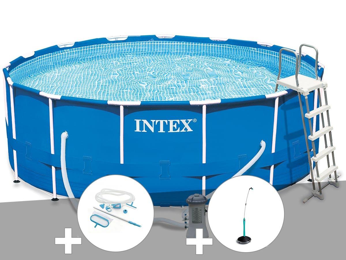 Kit piscine tubulaire Intex Metal Frame ronde 4,57 x 1,22 m + Kit d'entretien + Douche solaire