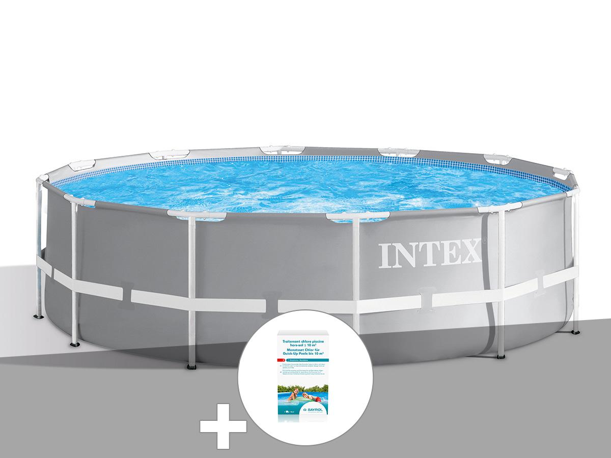 Kit piscine tubulaire Intex Prism Frame ronde 3,66 x 0,99 m + Kit de traitement au chlore