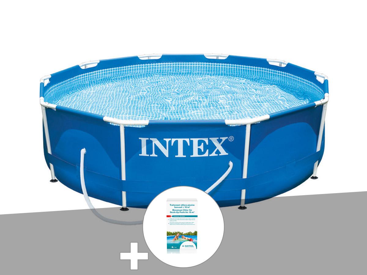 Kit piscine tubulaire Intex Metal Frame ronde 3,05 x 0,76 m + Kit de traitement au chlore