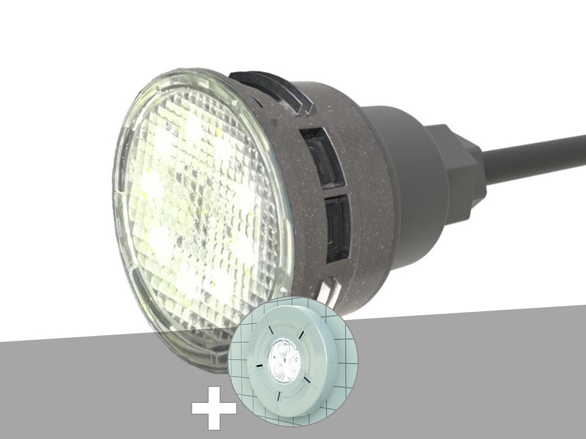 Projecteur LED 6W blanc M6 Mini-Brio+ + Enjoliveur blanc piscine liner - CCEI