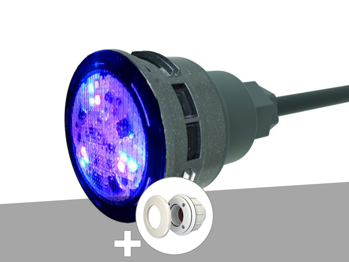 Projecteur LED 7W RGBW X7 Mini-Brio+ + Traversée de paroi blanche piscine liner - CCEI