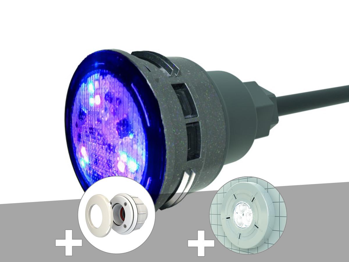 Projecteur LED 7W RGBW X7 Mini-Brio+ + Traversée de paroi blanche + Enjoliveur blanc piscine liner - CCEI