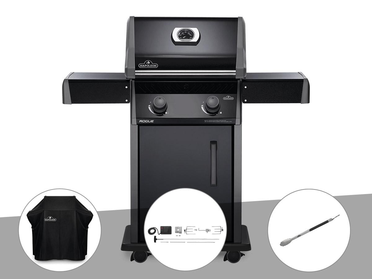 Barbecue à gaz Napoleon Rogue 325 + Housse de protection + Rôtissoire + Pince auto-verrouillable