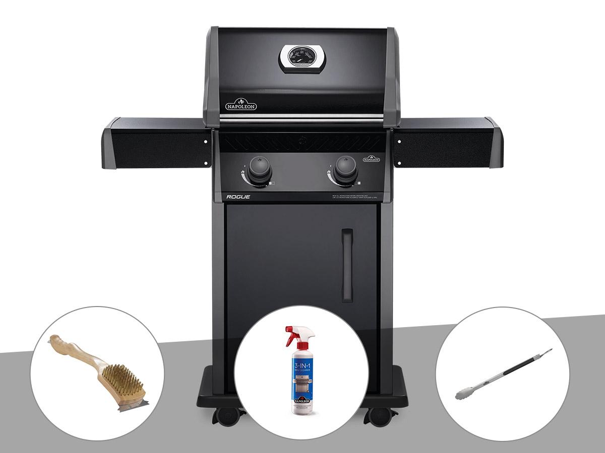 Barbecue à gaz Napoleon Rogue 325 + Brosse à grill + Nettoyant grill 3 en 1 + Pince auto-verrouillable