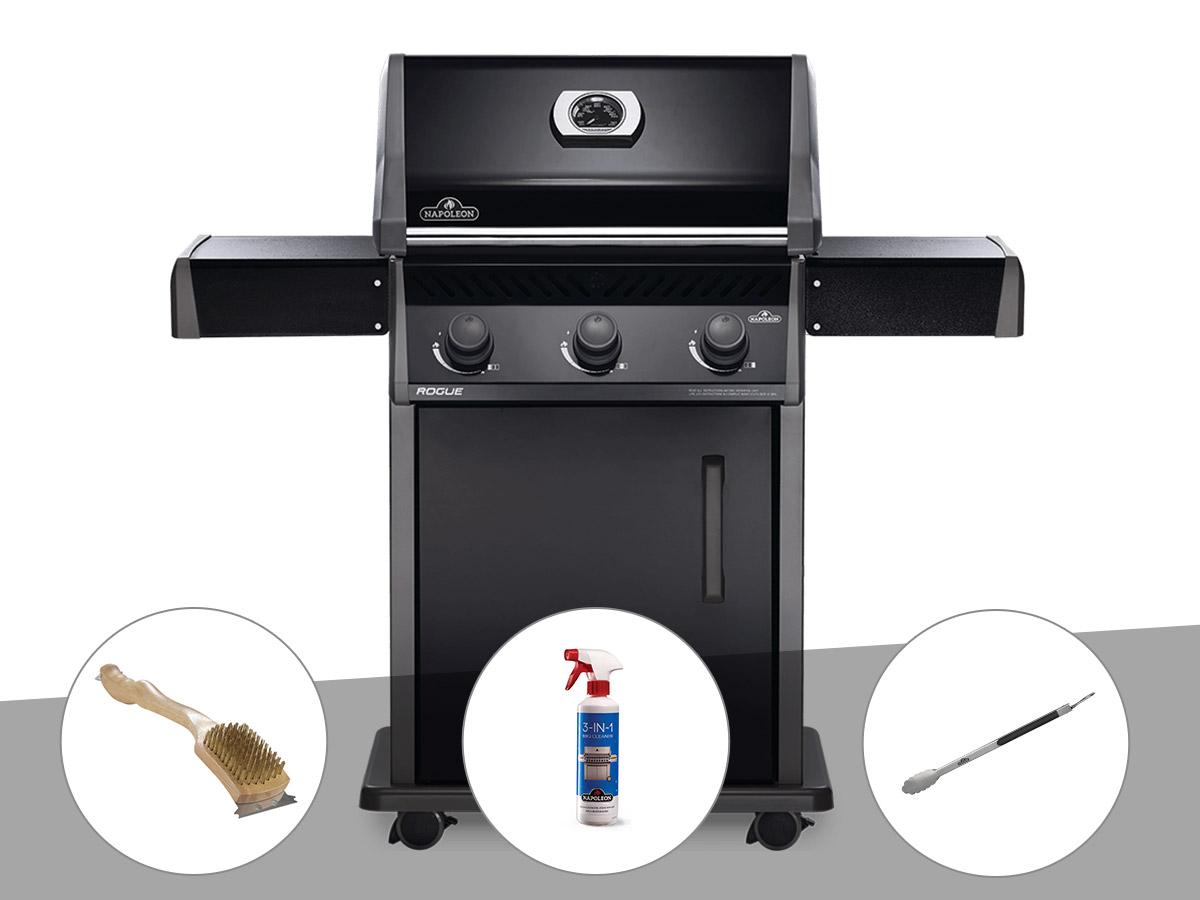 Barbecue à gaz Napoleon Rogue 425 + Brosse à grill + Nettoyant grill 3 en 1 + Pince auto-verrouillable