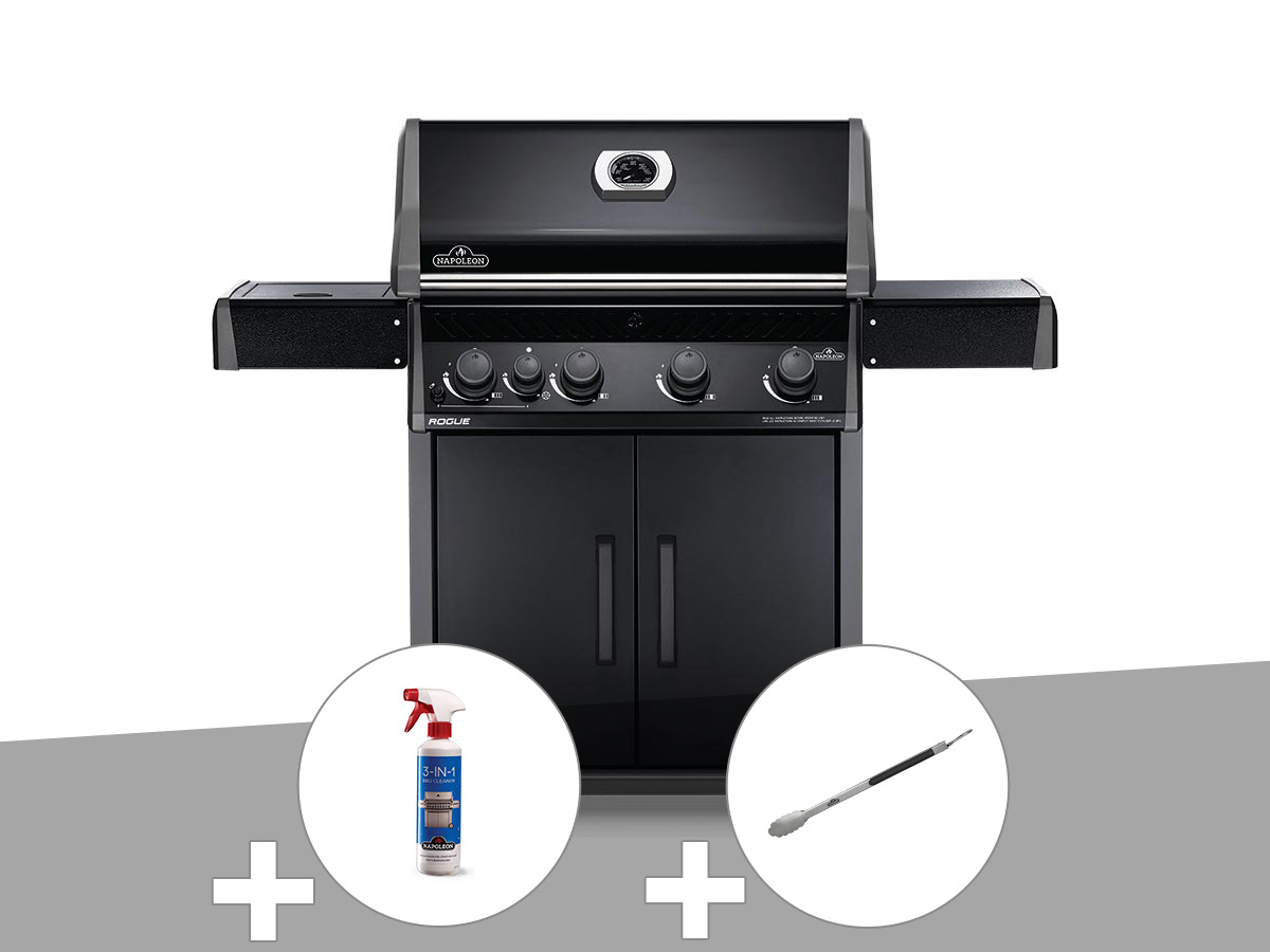 Barbecue à gaz Napoleon Rogue 525 SB noir + Nettoyant grill 3 en 1 + Pince auto-verrouillable