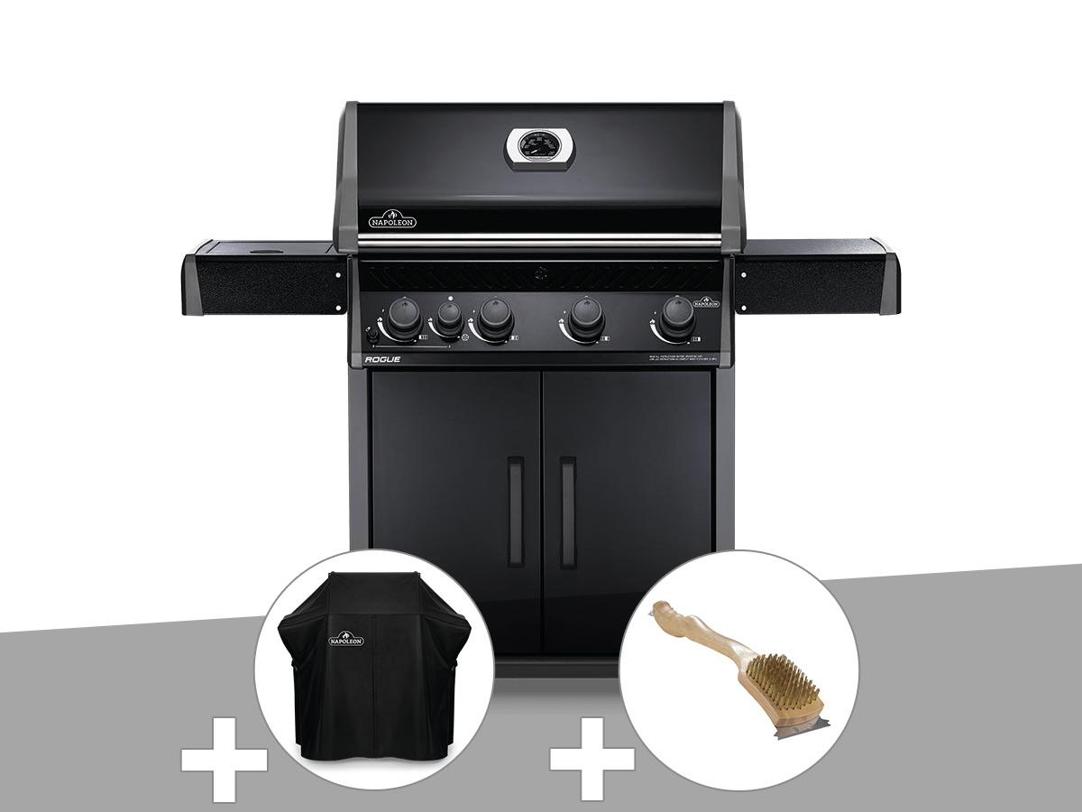 Barbecue à gaz Napoleon Rogue 525 SB noir + Housse de protection Rogue 525 + Brosse à grill