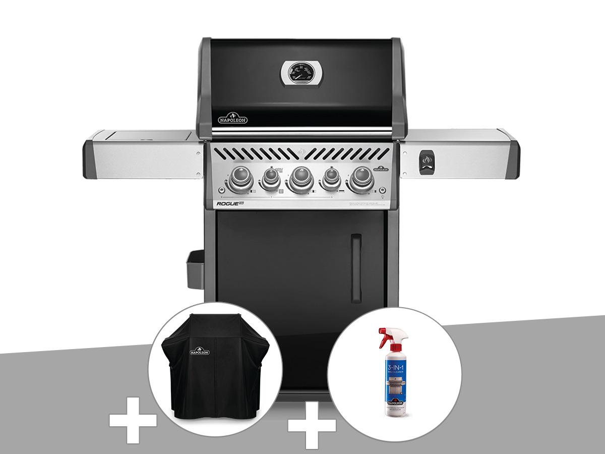 Barbecue à gaz Napoleon Rogue SE 425 SIB noir 3 brûleurs + Housse de protection + Nettoyant grill 3 en 1