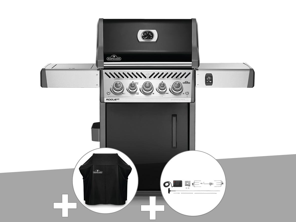 Barbecue à gaz Napoleon Rogue SE 425 SIB noir 3 brûleurs + Housse de protection + Rôtissoire