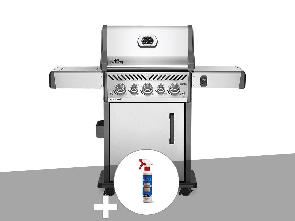 Barbecue à gaz Napoleon Rogue SE 425 inox 3 brûleurs + Nettoyant grill 3 en 1