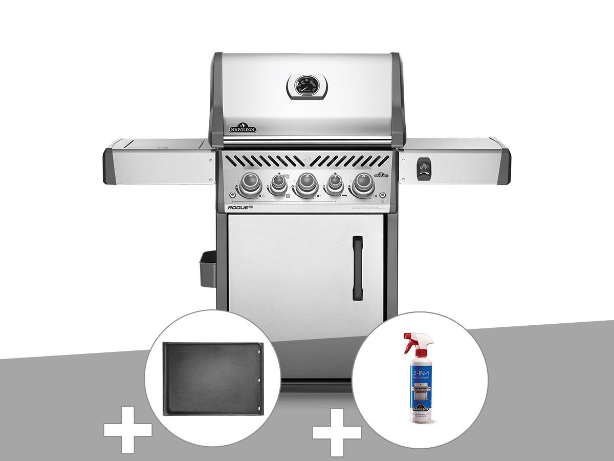 Barbecue à gaz Napoleon Rogue SE 425 inox 3 brûleurs + Plancha + Nettoyant grill 3 en 1