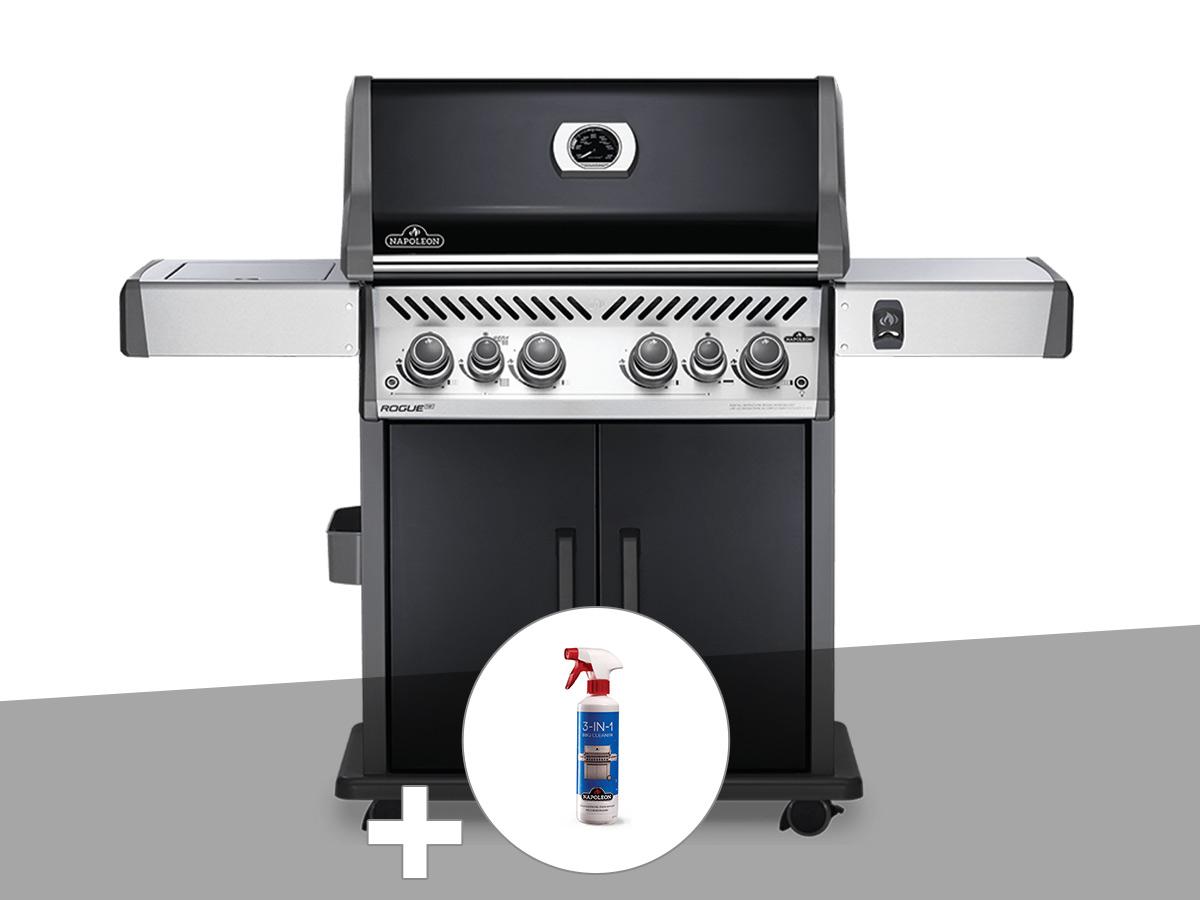 Barbecue à gaz Napoleon Rogue SE 525 noir 4 brûleurs + Nettoyant grill 3 en 1