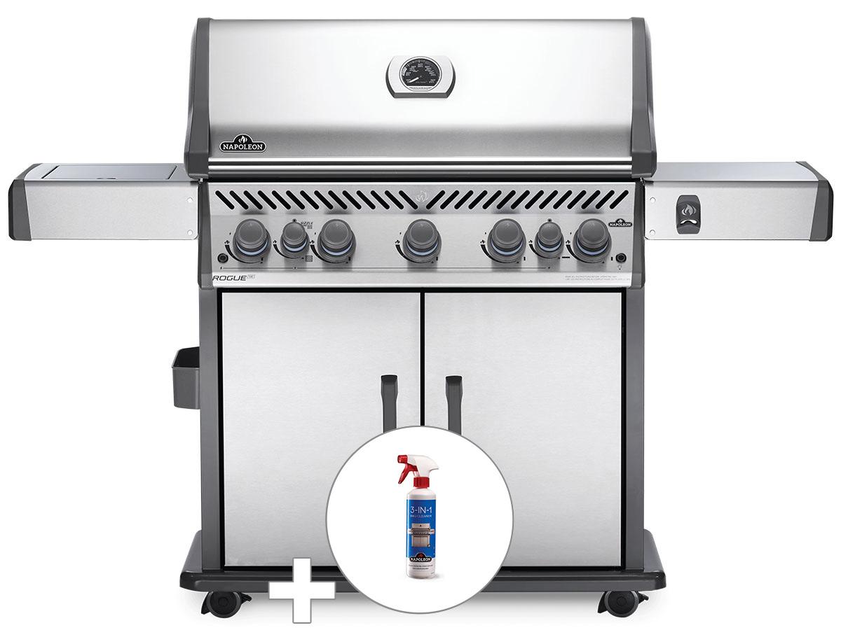 Barbecue à gaz Napoleon Rogue SE 625 inox 5 brûleurs + Nettoyant grill 3 en 1