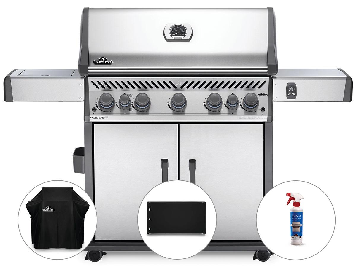 Barbecue à gaz Napoleon Rogue SE 625 inox 5 brûleurs + Housse de protection + Plancha + Nettoyant grill 3 en 1