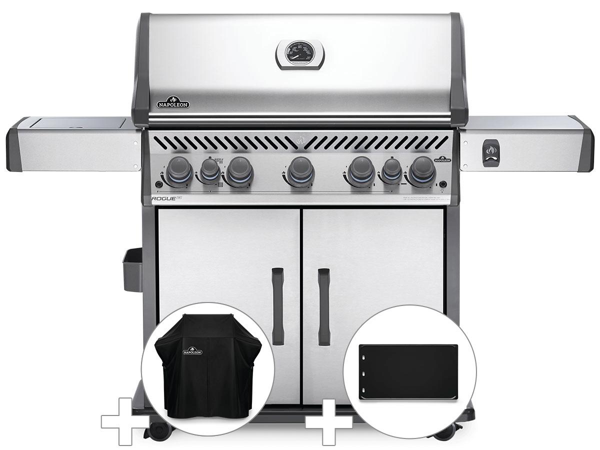 Barbecue à gaz Napoleon Rogue SE 625 inox 5 brûleurs + Housse de protection + Plancha