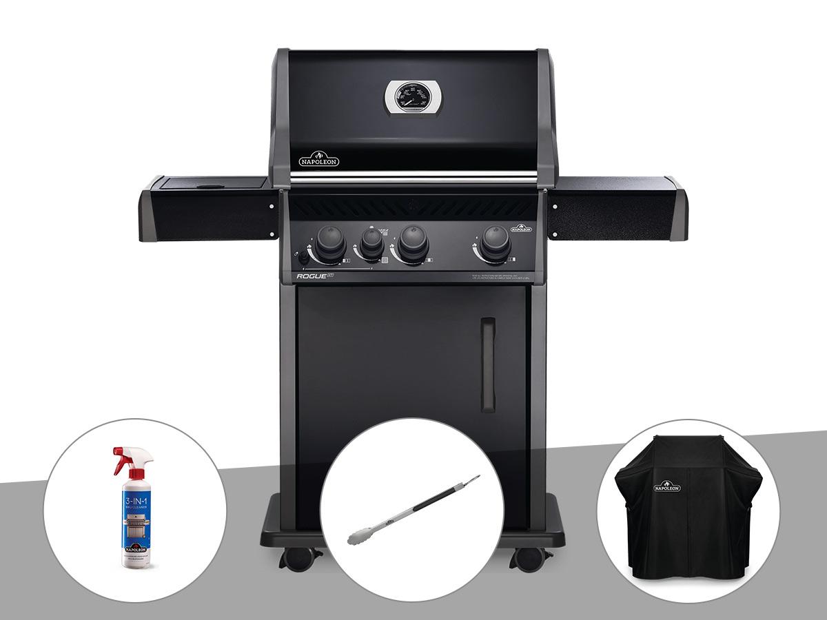 Barbecue à gaz Napoleon Rogue XT 425 noir + Nettoyant grill 3 en 1 + Pince auto-verrouillable + Housse de protection