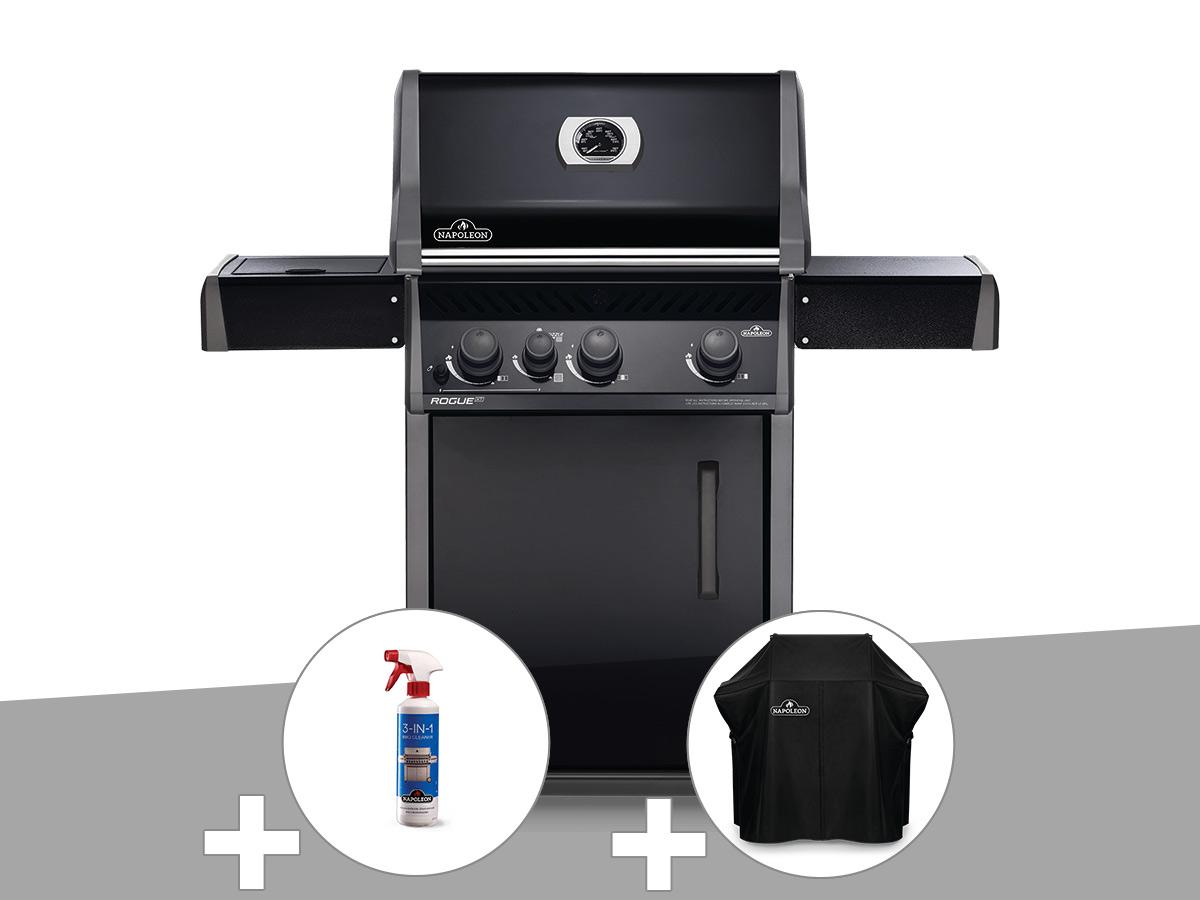Barbecue à gaz Napoleon Rogue XT 425 noir + Nettoyant grill 3 en 1 + Housse de protection