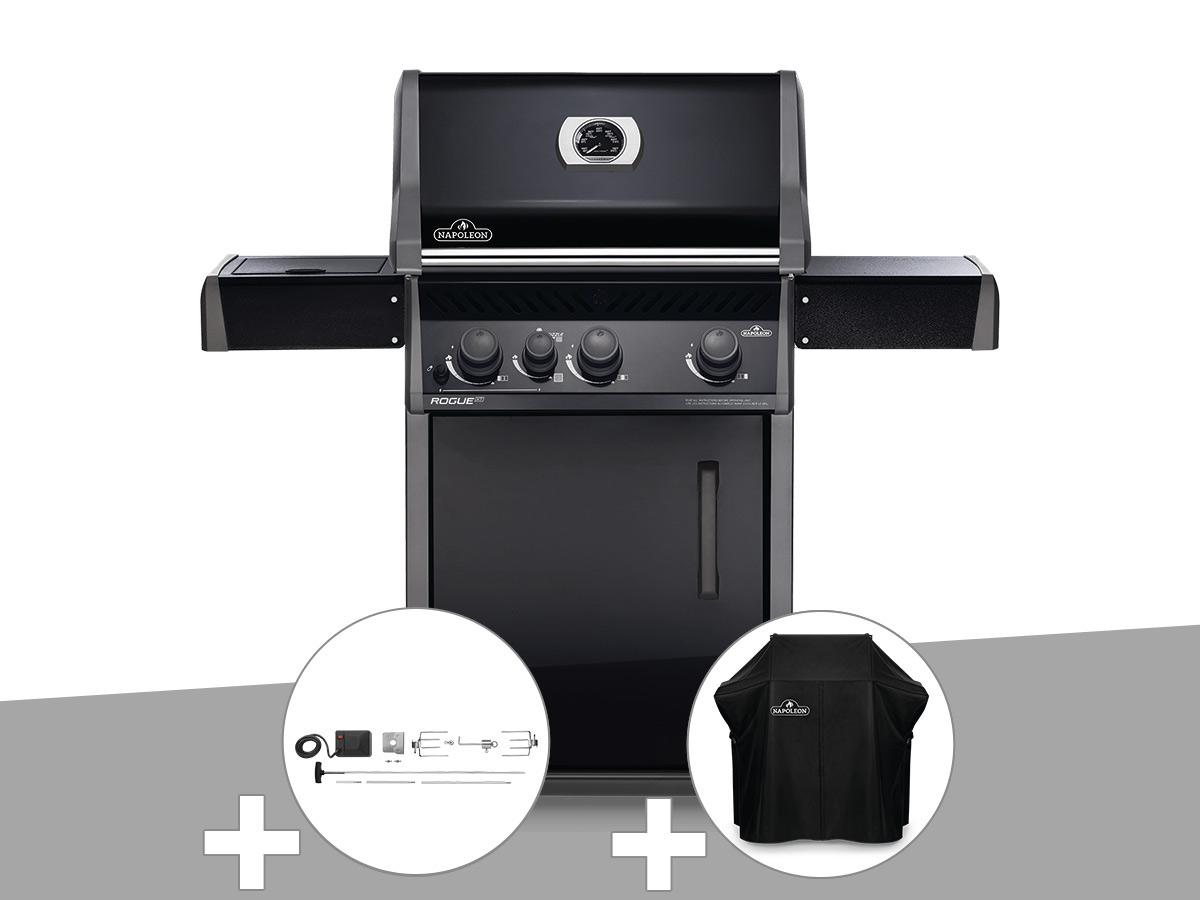 Barbecue à gaz Napoleon Rogue XT 425 noir + Rôtissoire + Housse de protection