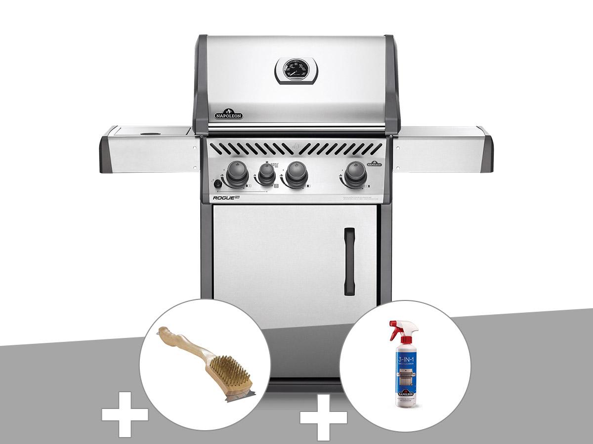 Barbecue à gaz Napoleon Rogue XT 425 gris + Brosse à grill + Nettoyant grill 3 en 1