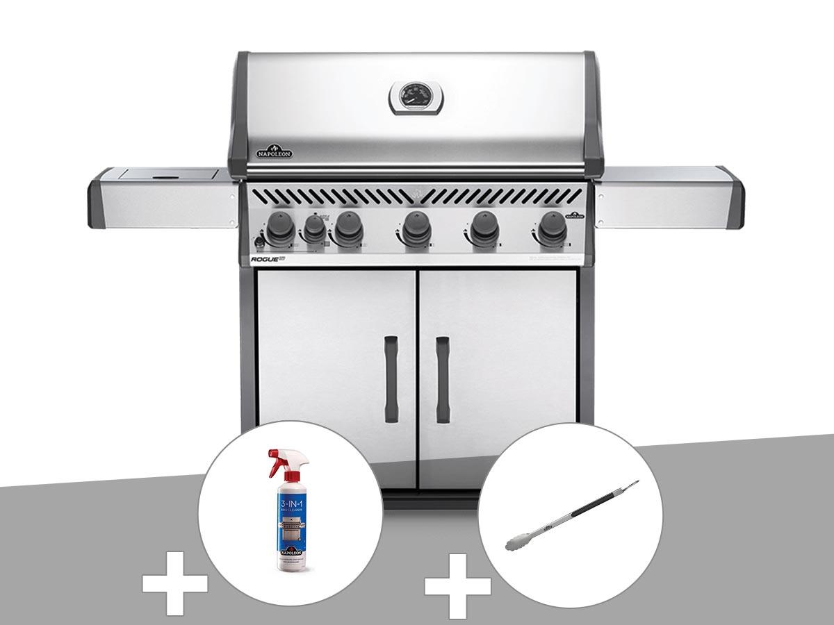 Barbecue à gaz Napoleon Rogue XT 625 SIB + Nettoyant grill 3 en 1 + Pince auto-verrouillable
