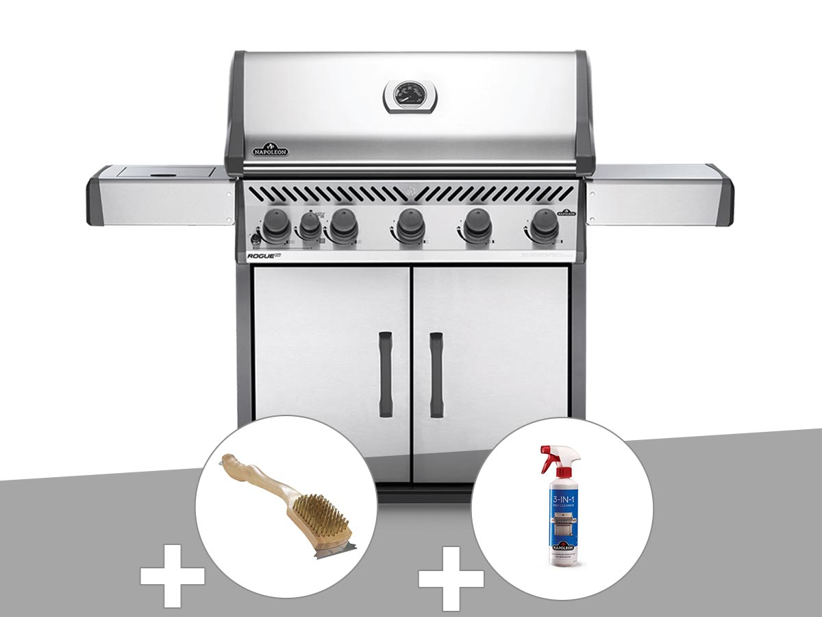 Barbecue à gaz Napoleon Rogue XT 625 SIB + Brosse à grill + Nettoyant grill 3 en 1