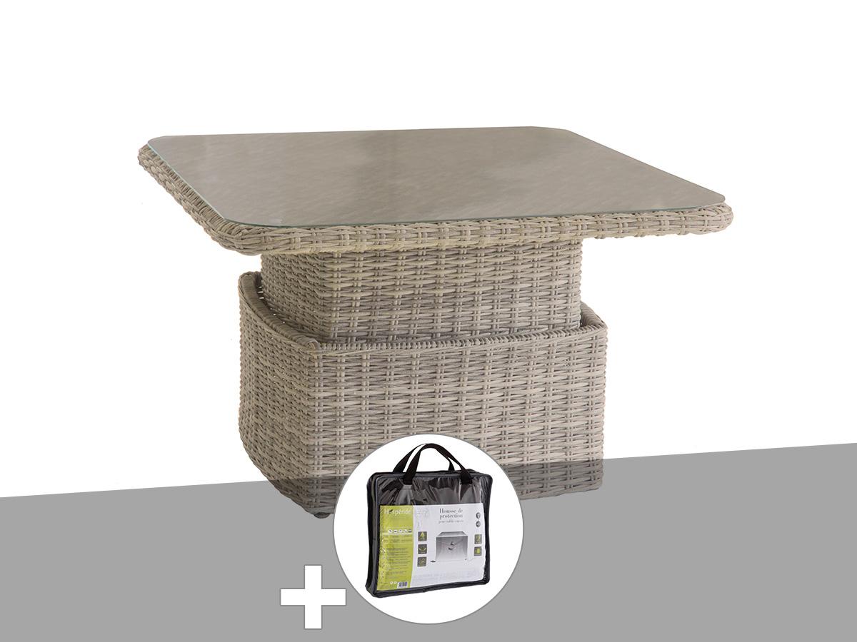 Table salon ajustable Moorea Beige avec housse de protection - Hespéride