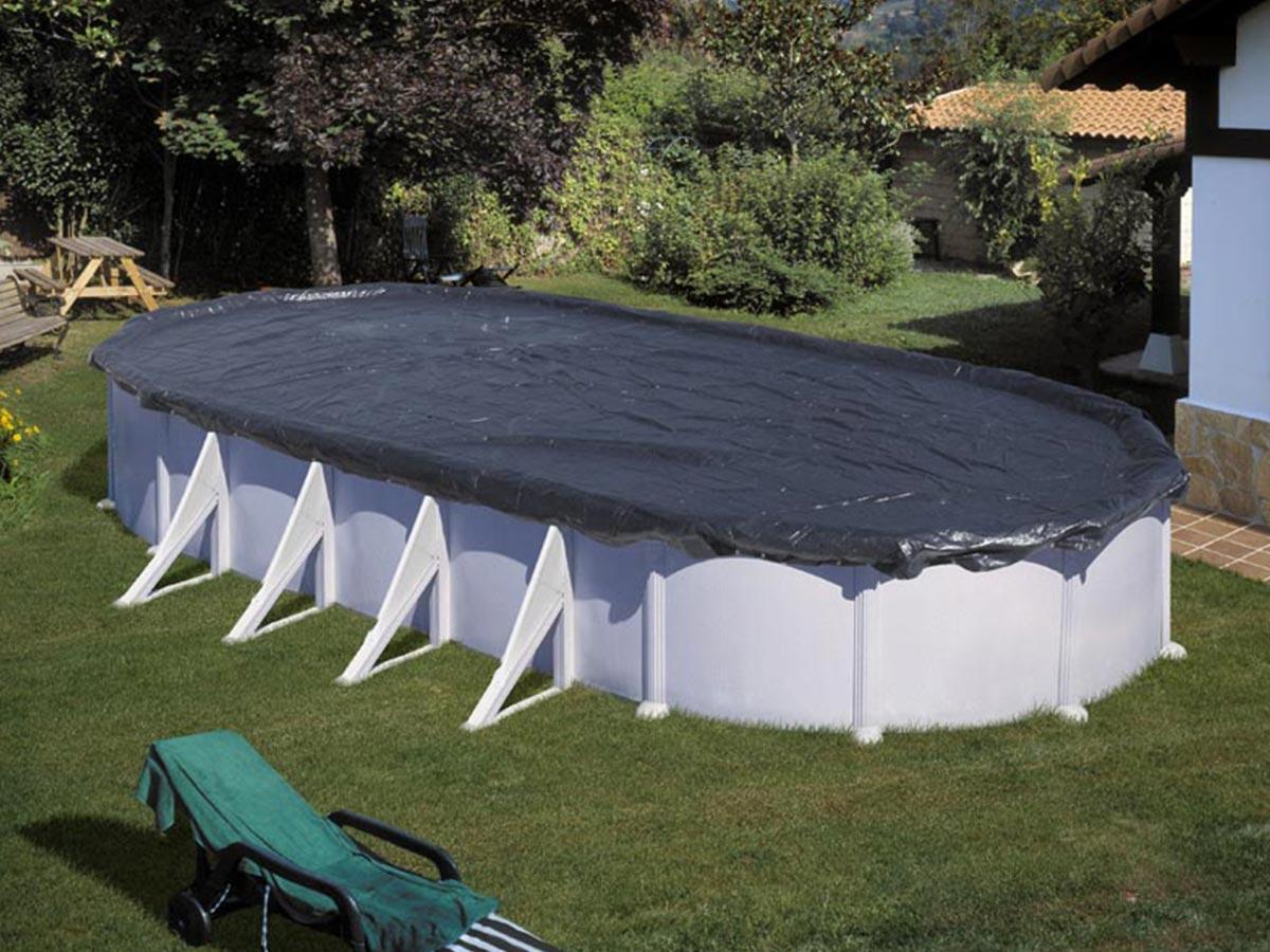 Bâche d'hivernage 120 g/m² pour piscine acier ovale 9,20 x 5,05 m - Gré