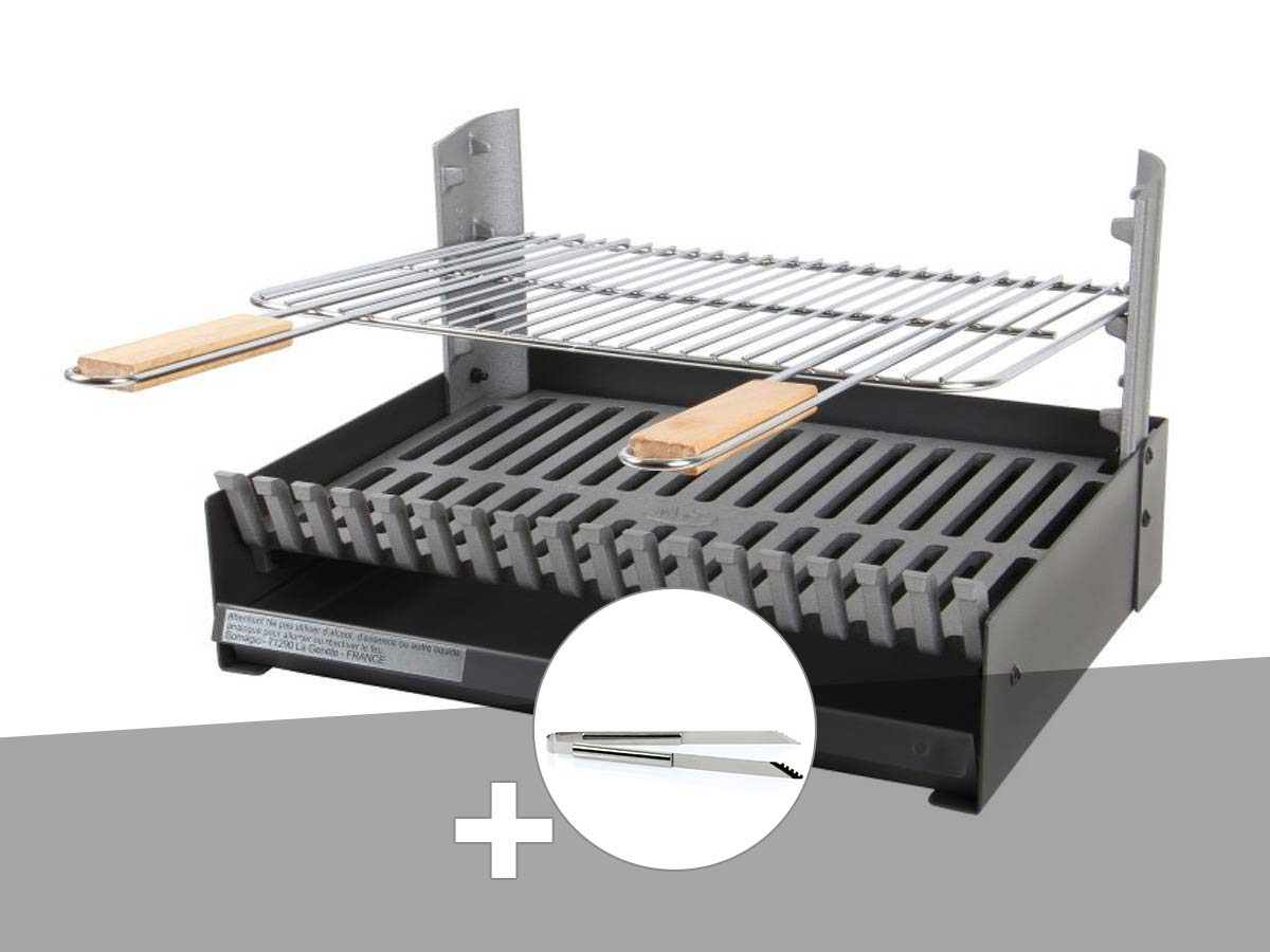 Barbecue charbon - Grilloir à poser Somagic + Pince en inox