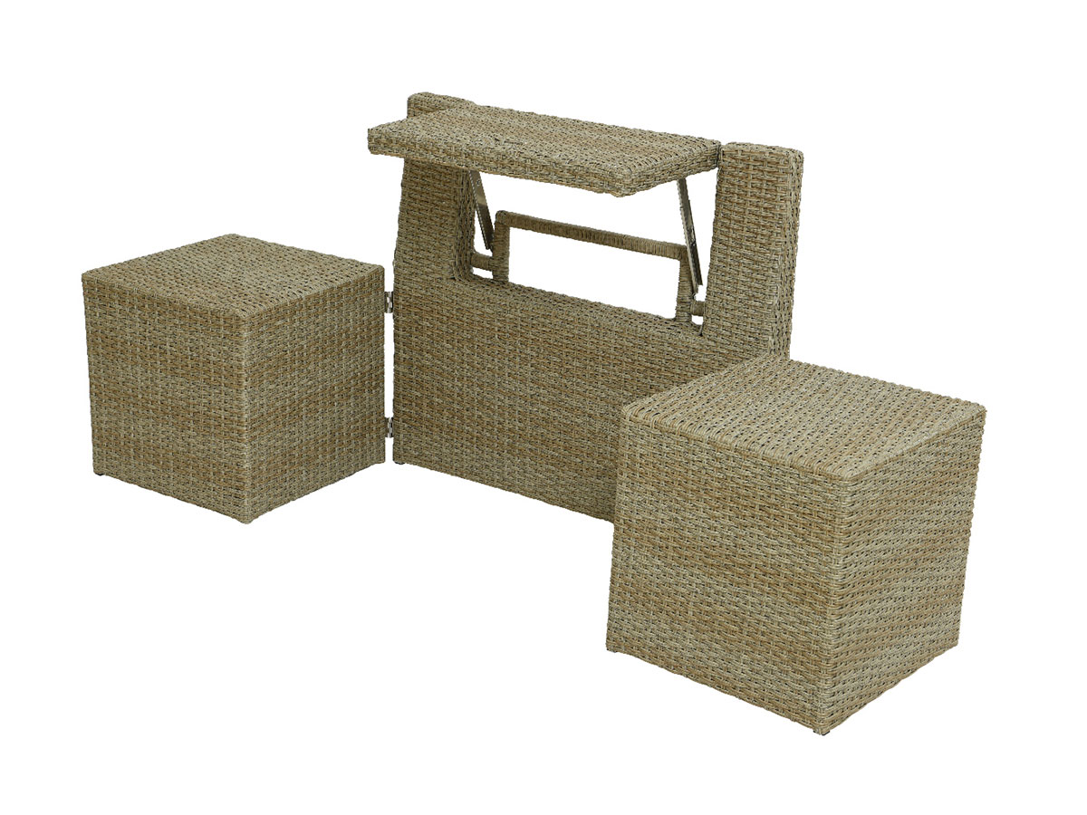 Ensemble de balcon table et pouf ou banc Naturel Java - Jardideco