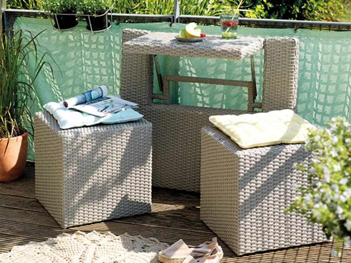 Ensemble de balcon table et pouf ou banc Gris Java - Jardideco